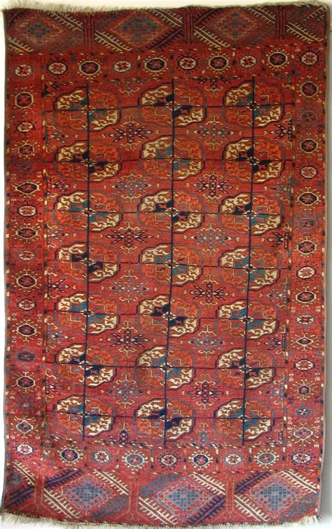tiny rug tekke turkmen small carpet 19th century