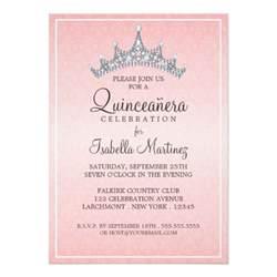 glam tiara quinceanera celebration invitation zazzle