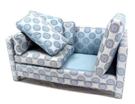 henredon settee blue upholstery mid century modern loveseat settee by