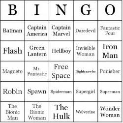 superheroes bingo cards