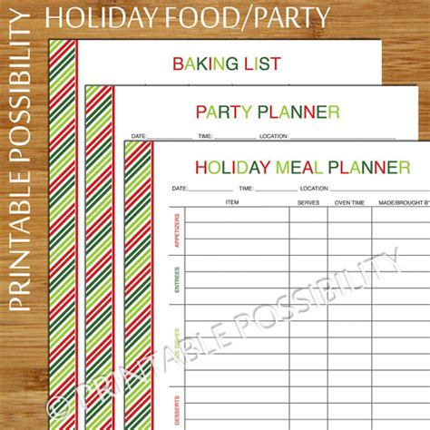 printable holiday meal planner holiday baking and party printable planner set christmas