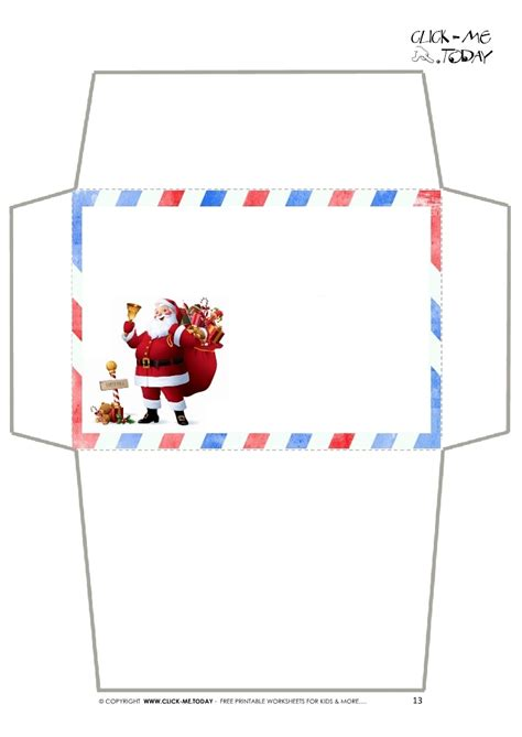 printable christmas envelope designs craft envelope letter to santa claus simple border santa 13