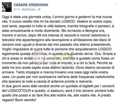 testo logico cesare cremonini cesare cremonini scrive su fb e parla suo ultimo album