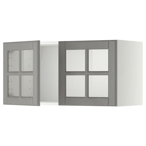 etagere 80x40 metod wall cabinet with 2 glass doors white bodbyn grey