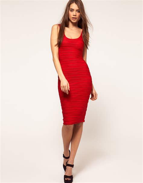 Qireya Texture Bodycon Midi Dress asos collection textured midi bodycon dress with scoop back in lyst