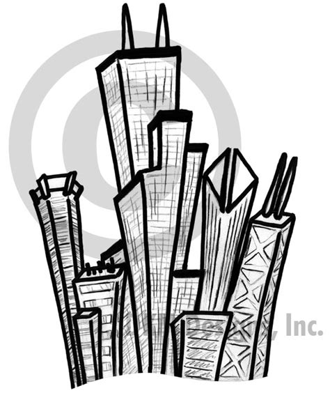 chicago skyline sketch by bowechomedia on deviantart