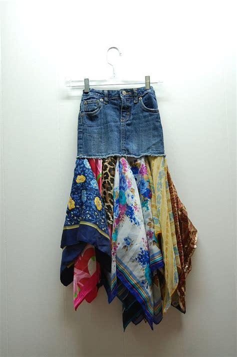 upcycled denim denim boho hippie upcycled clothing skirt boho hippie