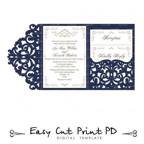 Wedding Invitation Set Of Tri Fold Lace Pocket Envelope 5x7 5x7 Tri Fold Template