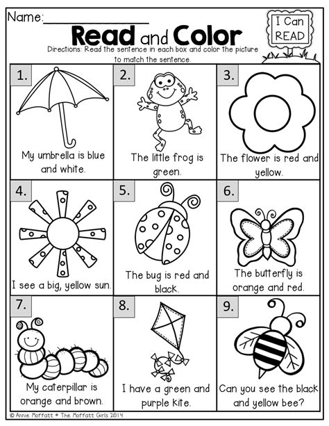 printable games for kindergarten reading read and color read the simple sentence and color