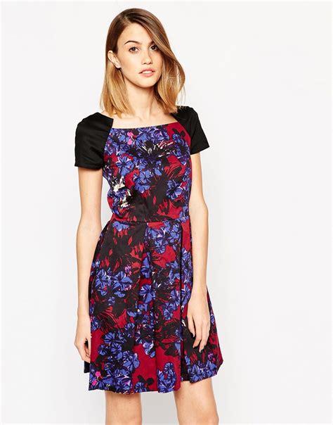 Dress Square Black lyst closet square neck dress in contrast floral in black