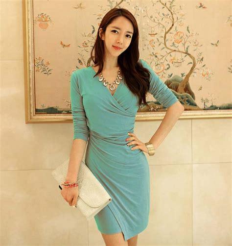 Dress Dress Korea Baju Korea 122 dress korea kerah v model terbaru 2015 model terbaru