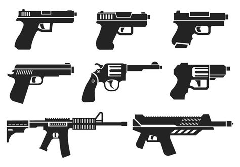 Weapon Graphics 5 guns icons vector free vector stock