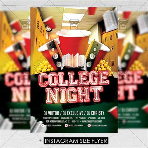 College Night Premium A5 Flyer Template Exclsiveflyer Free And Premium Psd Templates College Flyer Template