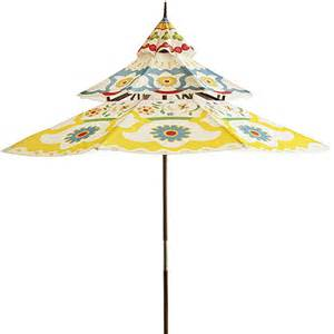 Pagoda Patio Umbrella And Colorful Garden Furniture By Pier 1