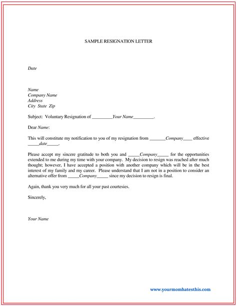 short notice resignation letter resignation letter samples short