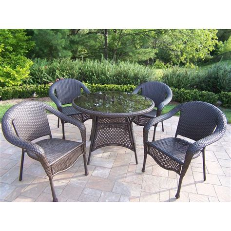 resin wicker patio dining set oakland living elite resin wicker 5 patio dining set