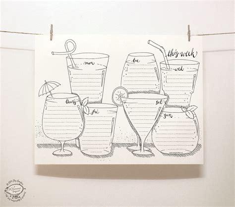 doodle 4 template printable doodle perpetual weekly planner organizer drinks