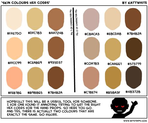 skin color hex code skin colours hex codes bitstrips