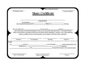 shareholder certificate template shareholder certificate sle
