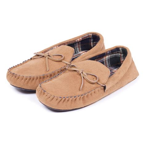mens slippers totes mens suedette moccasin with check lining slippers ebay
