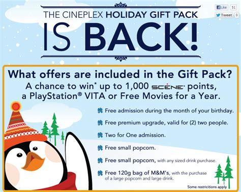 Cheapoair Gift Card Points - cineplex buy 30 gift card get holiday gift pack worth over 65 calgary deals blog
