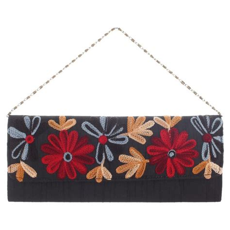 blue floral handmade s clutch purse evening bag