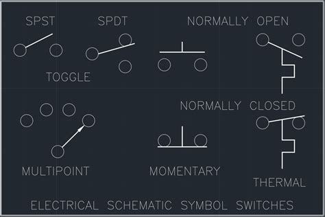 electrical schematic symbol switches cad block  typical drawing  designers