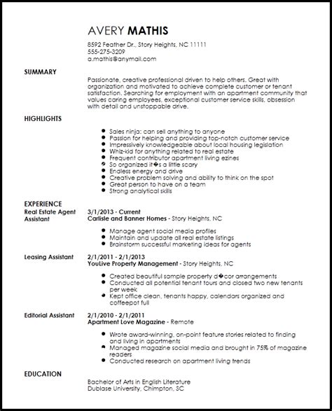 leasing consultant resume sle free creative apartment leasing consultant resume template