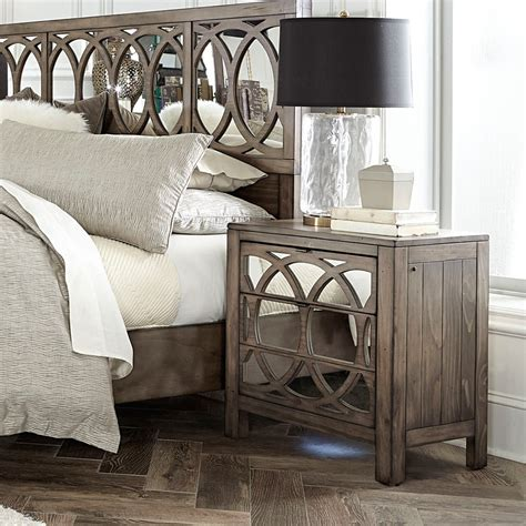 Wood And Mirrored Nightstand Tildon Wood Mirrored Two Drawer Nightstand In Mink