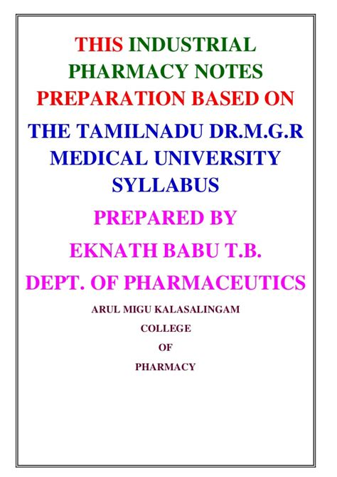 Industrial Pharmacy by Industrial Pharmacy Notes For M Pharmacy