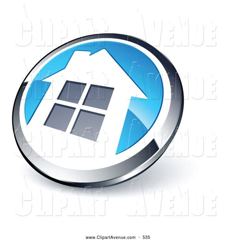 avenue clipart of a reflective shiny chrome and blue