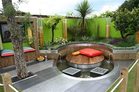 how to decorate backyard gorgeous small modern backyard idea with round deck and