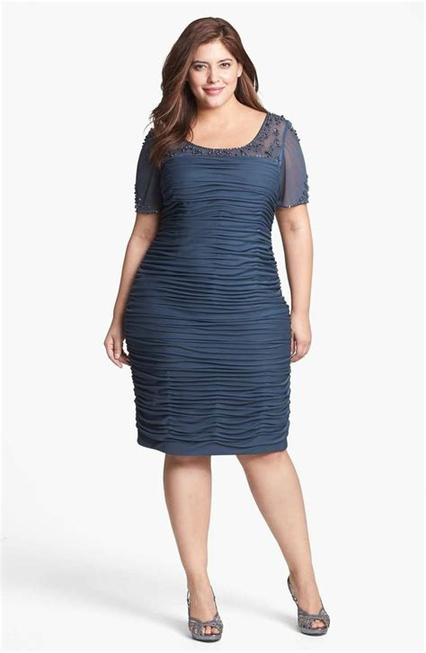 Ruched Dresses by Papell Beaded Illusion Ruched Dress Plus Size