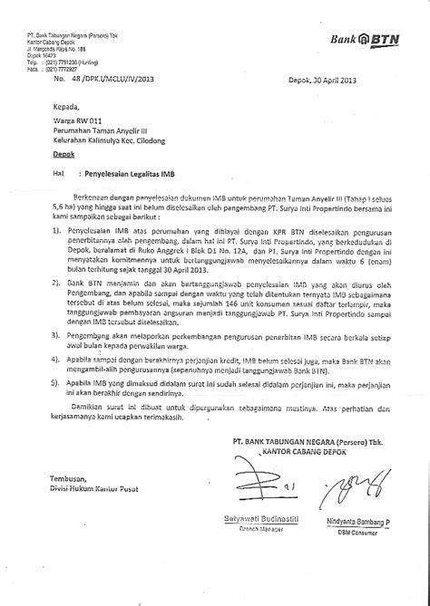 surat jaminan dari bank atas masa depan warga ta3