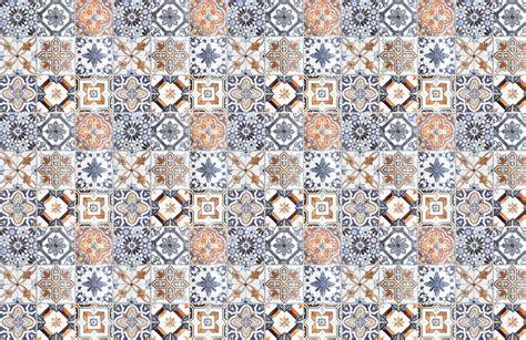 multicoloured portuguese tile effect wallpaper murals