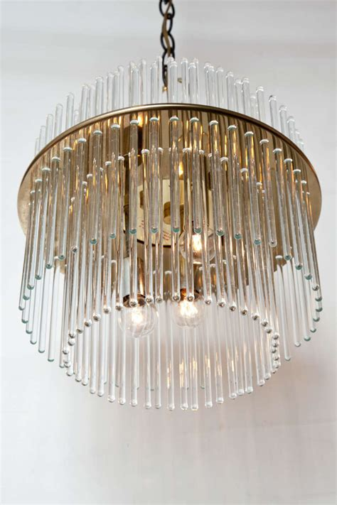 Glass Rod Chandelier Glass Rod And Brass Chandelier By Lightolier At 1stdibs