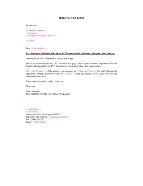 Acknowledgement Letter Format For Industrial Visit Sle Industrial Visit Letter
