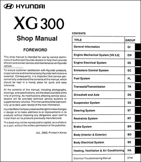 service manual pdf 2001 hyundai xg300 repair manual 2001 hyundai xg300 owners manual 2001