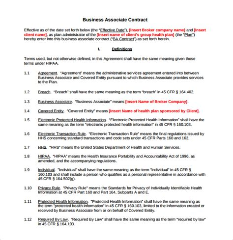 baa agreement template sle business associate agreement 6 free documents