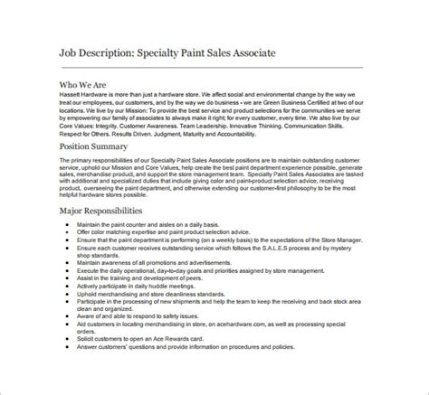 sales associate description template 8 free word sales