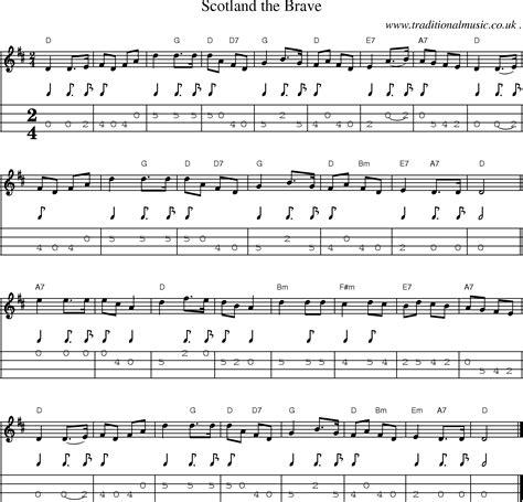 Scotland The Brave by Common Session Tunes Sheetmusic Tabs For Mandolin Midi