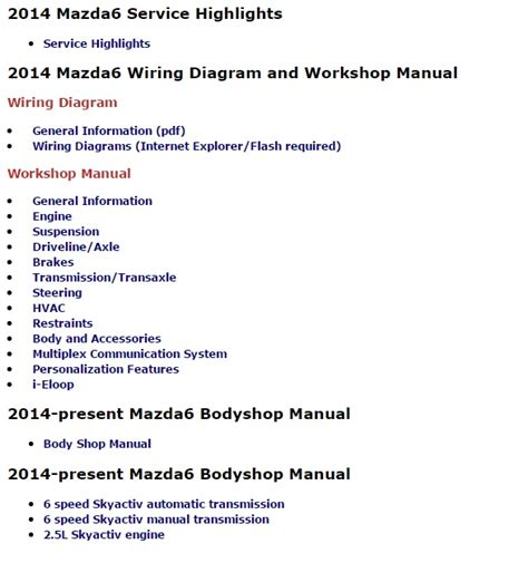 mazda 6 2014 service manual wiring diagram auto