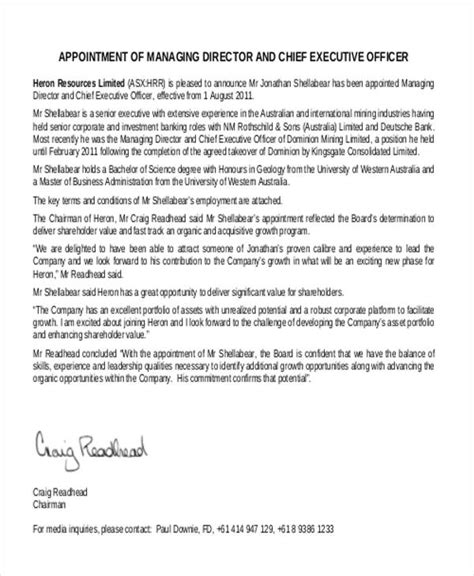 appointment letter of ceo appointment letter of executive director 28 images