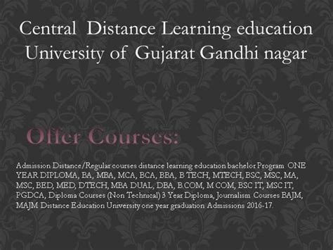 Distance Learning Mba In Gujarat by Central Distance Learning Education Of Gujarat