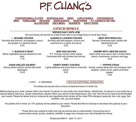 pf chang menu nutrition information nutrition ftempo