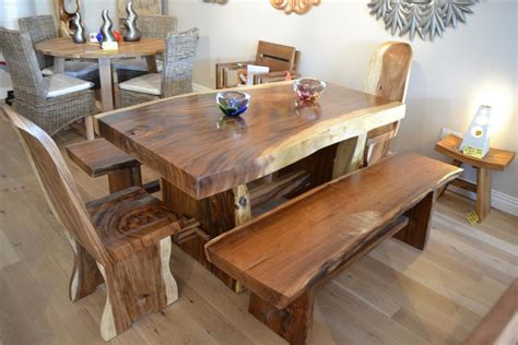 Solid Chunky Wood Dining Set Hardwood Dining Room Furniture