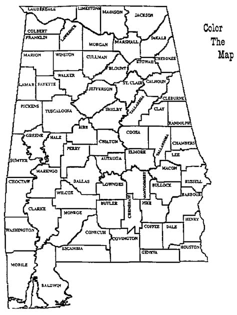 alabama state colors alabama counties color the map