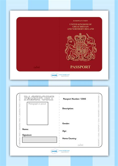 activity pass card template twinkl resources gt gt passport template gt gt printable