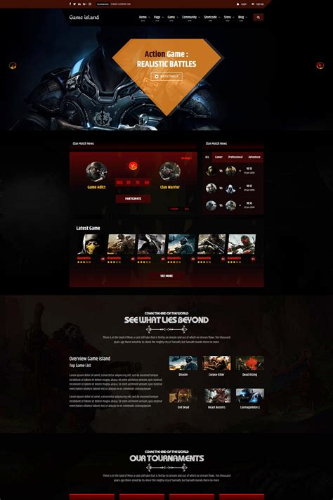 Game Island Community Portal Gaming Multi Purposes Bootstrap Website Template 68596 Gaming Community Website Templates