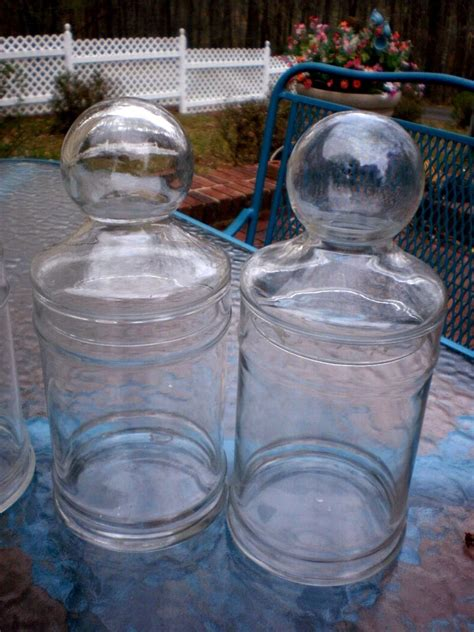2 Vintage Clear Glass Apothecary Candy Wedding Buffet Buffet Glass Containers